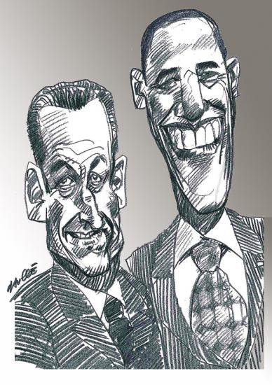 Barack Obama, Nicolas Sarkozy par daulle